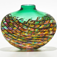 Optic Rib Flat Low Vase in Candy with Emerald by Michael Trimpol: Art Glass Vase - Artful Home