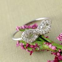 Sterling Silver Infinity Ring, Best Friend Gift, Crystal, Unique Gift
