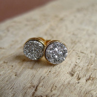 Tiny Silver Druzy Earrings Titanium Drusy Quartz Studs Gold Vermeil Bezel Set
