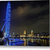 The London Eye By Night Metal Print By Sean Foreman