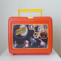 Vintage Lunchbox, Star Wars Empire Strikes Back, 1980 - Thermos, Yoda, red, blue, lunch box, geekery sci fi, movie, for him