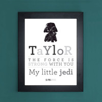 "Star Wars Darth Vader ""My Little Jedi"" Personalized Art Print"