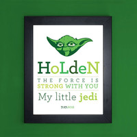 Star Wars - My Little Jedi - Personalized Art Print for Nursery or Children's Room Decor