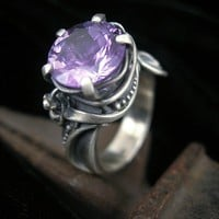 Amethyst and Sterling Cocktail Ring by Brittany Foster: Silver  Stone Ring - Artful Home