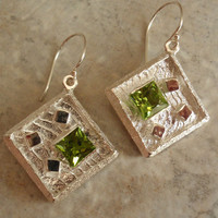 Sterling Silver Natural Peridot Earrings Artisan Cuttlebone Cast
