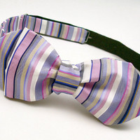 Mens Striped Bow Tie - Pure Silk - &#x27;Sherbert II&#x27;