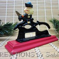 Cast Iron Nutcracker, Hand Painted, Table Top, Black, Red, Christmas, Holidays Vintage FREE SHIPPING