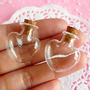 Mini Glass Jars Bottles w/ Corks in HEART Shape (26mm x 23mm) (2 pcs) for Miniature Food / Sweets Craft, Kitsch Jewelry / Pendants Making