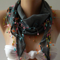 Grey - Elegance Shawl / Scarf  Cotton