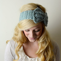 Ear Warmers / Bow Headband  - Crochet - Wool