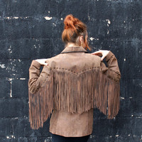 INCREDIBLE 1970s Super Long Fringe Bohemian Brown Suede Jacket