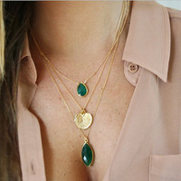 Emerald Green Onyx Drop Bezel 14k Gold Filled Necklace