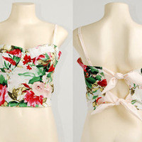 Floral Bow Tie Back Crop Padded Cup Bustier Bra Corset Bralet Tank Top