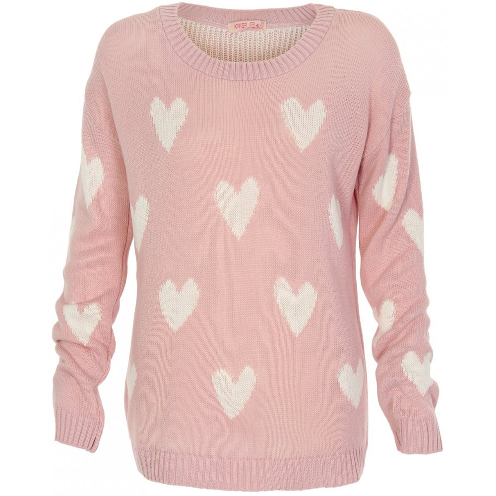 Pink Knit Long Sleeve Sweater with All from UsTrendy Sweaters