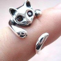 925 Sterling Silver Cute Cat Ring on Luulla
