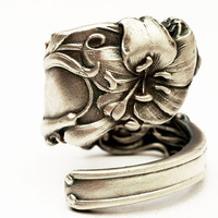 Spoon Ring Art Nouveau Rare Lily Sterling Silver Spoon Ring, Handmade to your size (3075)