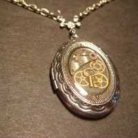 Steampunk  Locket Necklace with Gears, Watch Parts and a Tiny Key - Antique Silver (616)