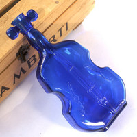 "Vintage Cobalt Blue Violin Glass Bottle ""Viobot"""