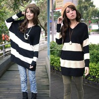 New Women Elegant V-Neck Stripe Batwing Sleeve Loose Sweater Fashion Dress S0BZ