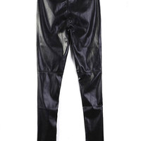 Black High Waist PU Leather Pants$40.00