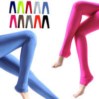 Women Ladies Girl Shiny Fluorescent Slim Opaque Tights Leggings Pants