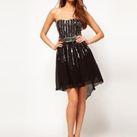 Little Mistress Linear Embellished Bandeau Dress at asos.com