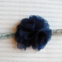 Royal Blue flower on a sparkly silver elastic headband, newborn-adult, can also be put on a clip