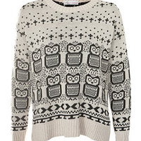 Cameo Rose Stone Owl Print Jumper