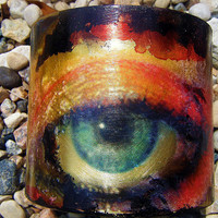 Eye spy orange/black CUFF BRACELET by Kamelastudio54 on Etsy