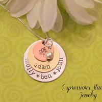 FAMILY tree Necklace -- Hand Stamped Jewelry -- Personalized Names