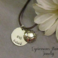 SPORTS Necklace -Name Necklace - Leather Necklace  - Hand Stamped Jewelry - Volleyball - Basketball - Soccer ball