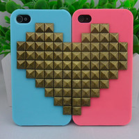 Blue and pink iPhone 4 ,4S hard Case Cover with Heart-shaped bronze pyramid stud for iPhone 4 Case, iPhone 4S Case  -267