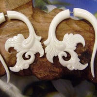 Fake Gauge,Hand Craved , Flower  Natural White Bone Split Gauge Earrings, Flowing Flower,tribal style