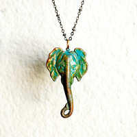 Distressed Brass Elephant Necklace | By Kaida
