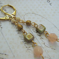 Pink Gold Glass Earrings, Gold Plate Earrings, Fashion Earrings, Fall Earrings, Beach Earrings
