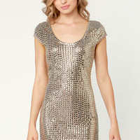 Mirror, Mirror Studded Taupe Dress