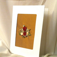 Hand Embroidered Card Silk Ribbon Roses Silk by BeanTownEmbroidery
