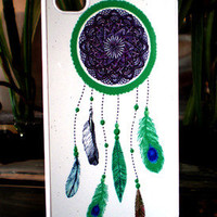 Apple iPhone 4 / 4S Dreamcatcher Bright Neon Green Feather Case or AT&amp;T Verizon