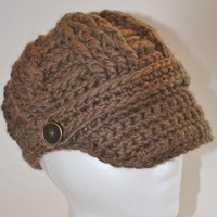 Brimmed Beanie Hat - Crocheted in Bark Brown