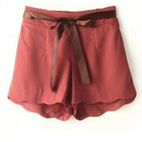 Sunday Brunch Scalloped Shorts in Wine | Sincerely Sweet Boutique