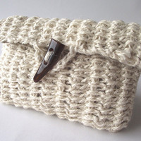 Crochet Pouch Bag....Natural Bone Beige Earth....,Jute Eco friendly.... handmade.... Clutch with Bon