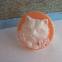 Adjustable Cat Cameo Ring Kitty Ring Cat Ring I Love Cats Adjustable Ring Gifts for Her