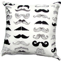 Mustache Pillow Cover Modern Pillow Cover Black/White Accent Pillow 18x18