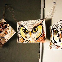 Owl Paintings, Hanging Wall Art & Modern Home Decor, Garland and Flag Art