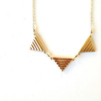 Art Deco Brass Triangle Necklace with Pyrite and Gold Fill Chain, wire wrapped, geometric