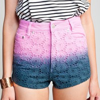 Ombre Crochet High Waisted Mini Shorts