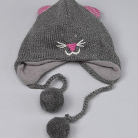 Knitwits by Delux - Gray Kitty Earflap Hat