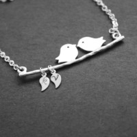 Love Bird Necklace Custom Initial Personalized Leaf by JewelryDeli