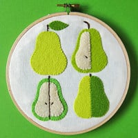 Wall hanging green pears felt applique by oktak on Etsy