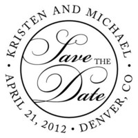 Sophisticated Script Save the Date Personalized Stamp